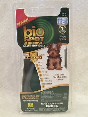 Bio Spot Defense Flea Tick Spot On For Dogs - 6 to 12 lbs 1 Month Supply