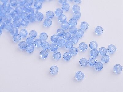 New 100pcs 3mm Faceted Round Glass Crystal Charms Findings Spacer Beads Lt Blue