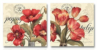 "New - Set of 2 Red Floral Poppies Tulips Flowers Home Decor Art Prints 18"" x 18"""