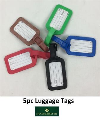 5 Plastic Luggage Baggage Tags Labels NAME ADDRESS ID SUITCASE Bag TRAVEL