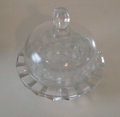 NWOT Mikasa Salina Round Clear Glass Covered Butter Dish