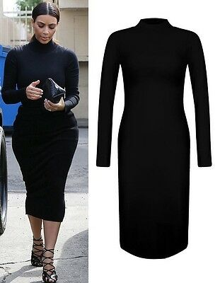 SIZE M/L  WOMENS KIM KARDASHIAN STYLE BLACK POLO TURTLE NECK PARTY MIDI DRESS  x