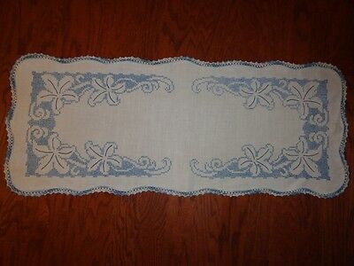 Beautiful Vintage Table Runner Dresser Scarf Embroidery Crochet Doily Blue