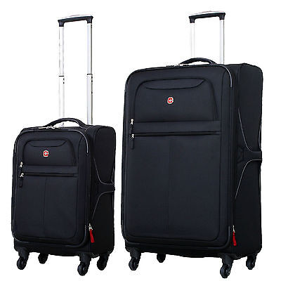 "Wenger SwissGear Lite 20"" and 28"" Spinner Expandable Upright Luggage Set - Black"