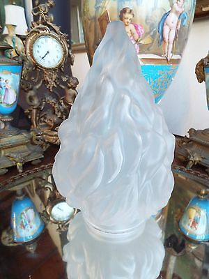 "VINTAGE ART DECO 1930s FIGURAL TORCH FLAME FROSTED GLASS SHADE 10"" Tall Gatsby"