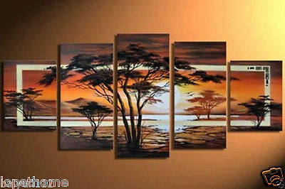 5PC MODERN ABSTRACT HUGE WALL ART OIL PAINTING ON CANVAS (no framed)