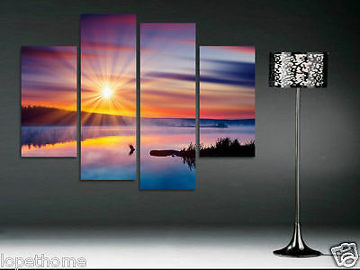 Lake In Gorgeous Sunrise Modern Wall Art On Canvas Painting (NO Frame)