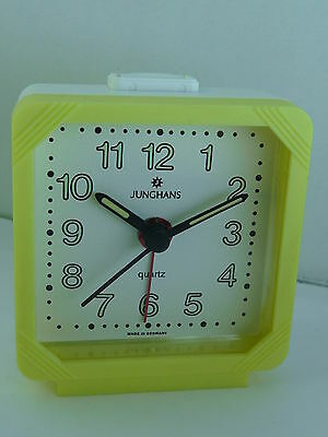Lovely little German made Junghans Quartz Travel Alarm clock Yellow NOS
