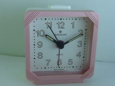 Lovely little German made Junghans Quartz Travel Alarm clock Pink NOS