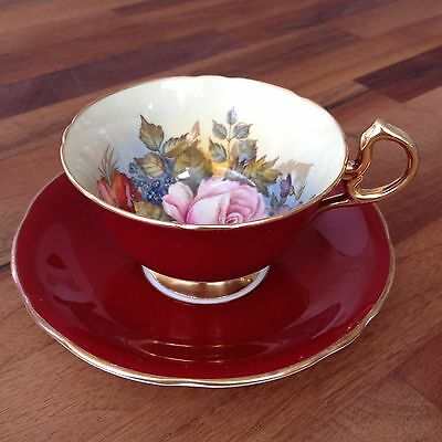 AYNSLEY Signed J A BAILEY China Ruby & Gold Tea Cup & Saucer