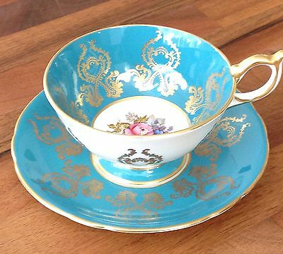AYNSLEY Signed J A BAILEY China Turquoise & Gold Tea Cup & Saucer