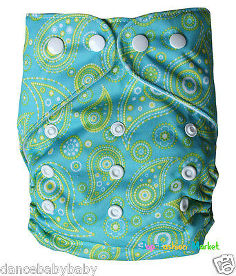 Snap Closing Baby Cloth Diaper Green Leaf Print Washable 1 Size Nappy Cover D01
