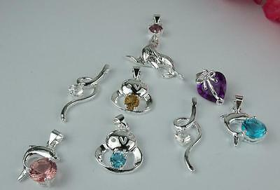 5pcs  925 Sterling Silver Mixed Color Crystal Necklace Charm Pendant II