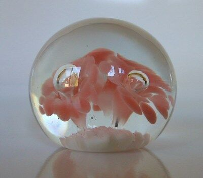 LEVAY USA SIGNED ART GLASS PAPERWEIGHT,PINK TRUMPET FLOWERS W/ ENTRAPPED BUBBLES