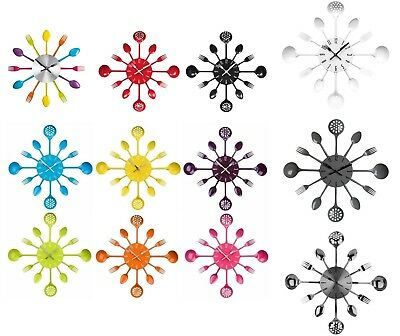 Cutlery Wall Clock Metal New Range Of Colours Stylish For Home Kitchen