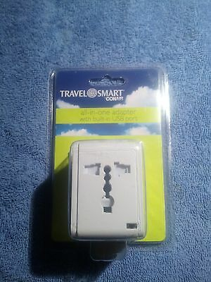New Conair Travel Smart all in one adapter built in surge protector USB Port