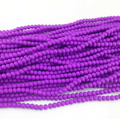 DIY Charm 100pcs 4mm Ball crystal Beads for Fit Bracelets Necklaces Purple NEW