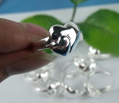 5pcs wholesale  925 Sterling Silver Lover's 2-heart Rings 6-8