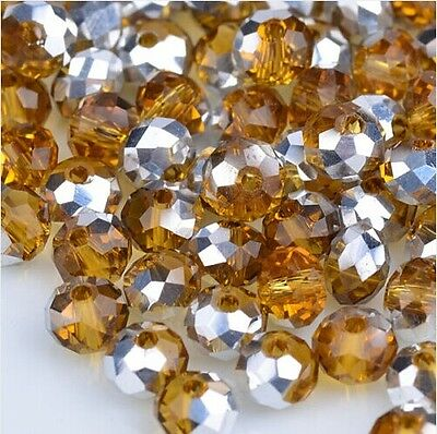 NEW Jewelry Faceted 100 pcs Silver Amber #5040 3x4mm Roundelle Crystal Beads