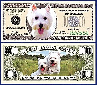 FAKE-Funny MONEY 5-Yorkshire Terrier Dog Dollar Bills  Collectible Note-P1