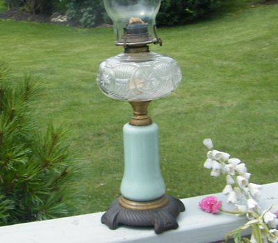 ANTIQUE VICTORIAN 1870's STAR GREEN OPALINE CASED CONSOLIDATED GLASS OIL LAMP