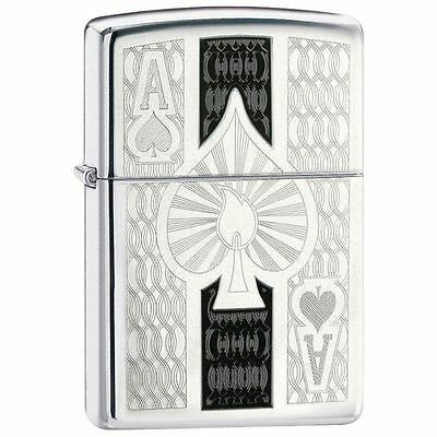 Zippo Windproof High Polished Chrome Ace Of Spades Lighter, 24196, New In Box