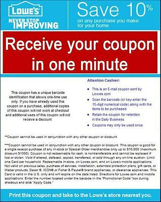 Superfast delivery One (1x) Lowe's 10% OFF Coupon Printable ( In Store & Online)