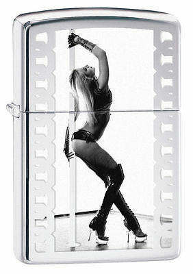 Zippo Windproof Polished Chrome Lighter With Pole Dancer, 28448, New In Box
