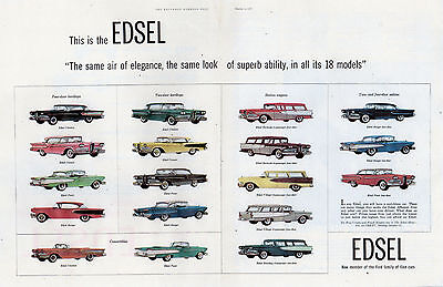 "VINTAGE Original 1958 EDSEL FULL LINE ADVERTISEMENT- 13 1/2 "" X  21 """