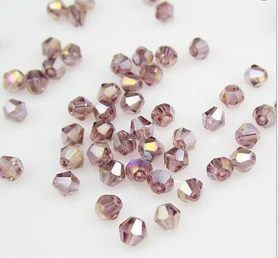 Jewelry making 100pcs 4mm #5301 Bicone glass crystal beads light Purple AB NEW