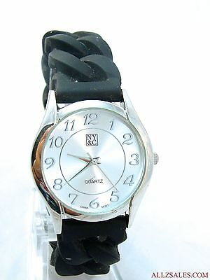Used NY & Co Women's Girls Watch (13534) Silver Case & Dial, Stretch Rubber Band