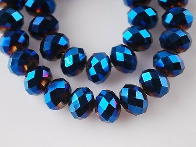 New 200pcs Glass Crystal Faceted Loose Findings Rondelle Beads 4mm Blue Plated