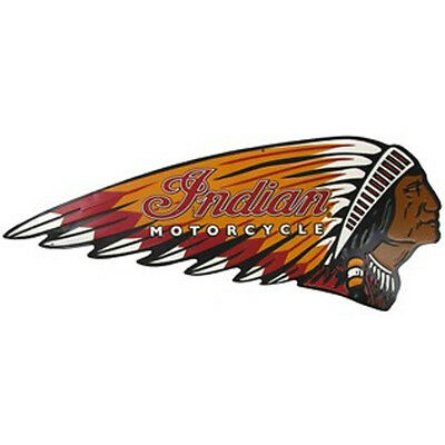 "LARGE 24"" INDIAN MOTORCYCLE SIGN Chief Harley Scout Vintage Style American Oil*"