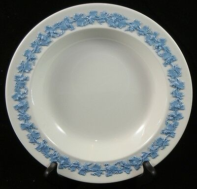 WEDGWOOD Queensware Embossed Lavender Blue on White Cream Rimmed Soup Bowl