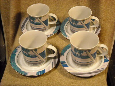 "set of (4) Epoch Summer Time ""Cruising"" Pink Cadillac Cups & Saucers"