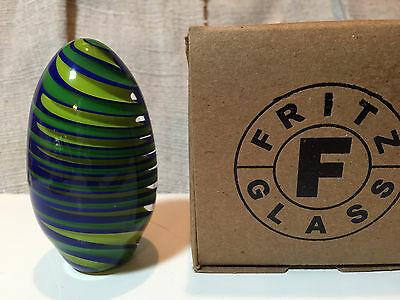 2011 signed FRITZ GLASS ELONGATED ART GLASS PAPERWEIGHT DECORATIVE EGG EASTER