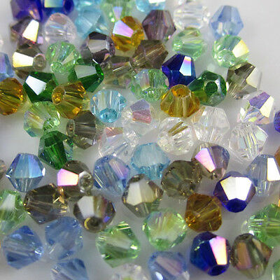 Jewelry making 100pcs 4mm #5301 colorful Bicone glass crystal beads MIX AB NEW