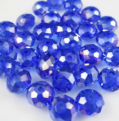 NEW Jewelry Faceted 100 pcs Blue AB #5040 3x4mm Roundelle Crystal Beads DIY
