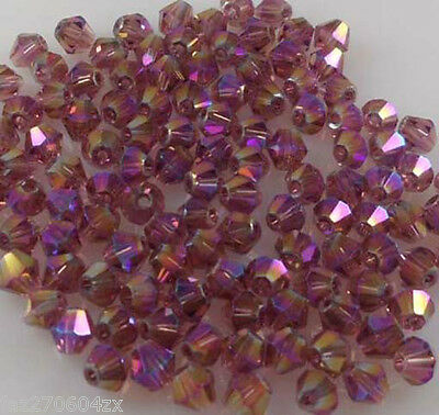 Free Shipping 100pcs Red Light Purple AB 4mm luster Crystals Bead A23