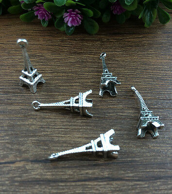 Vintage 10pcs Tibet silver Eiffel Tower Charm Pendant beaded Jewelry Findings