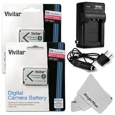 Battery Set for Sony CyberShot DSC RX100 II III HX50V WX300 / 2 NP-BX1 + Charger