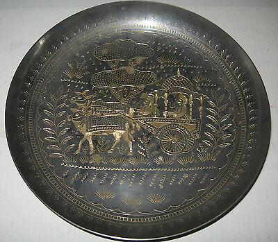 VTG Antique Persian  Wall  Bowl  Plate Metal Hand Etched Arabic Middle East