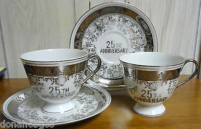 Norcrest 25th Anniversary (2) Cups & (2) Saucers Made in Japan