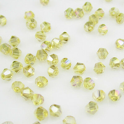 Jewelry making 100pcs 4mm #5301 colorful Bicone glass crystal beads Yellow AB