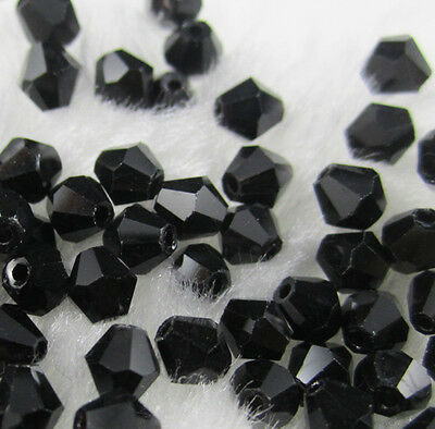 Jewelry making 100pcs 4mm #5301 colorful Bicone glass crystal beads Black NEW