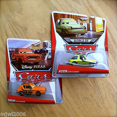 Disney PIXAR Cars GREM WITH WEAPON & ACER WITH HEADSET 2 diecast lot LEMONS