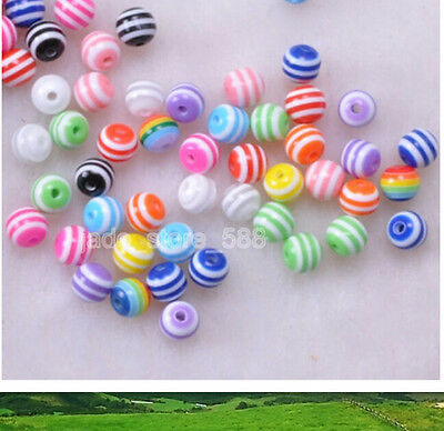 60Pcs Mixed color and white Striped Round Resin Spacer Beads 6mm