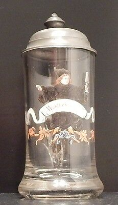 München Antique German Lidded colored glass Beer Stein hand painted Kindel old