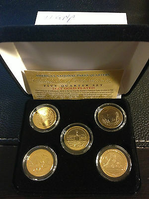 2011 Gold National Parks  5 Quarters set with box   1