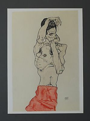 Egon Schiele Lichtdruck Collotype XXL Signed Male body with red waistcloth 1914